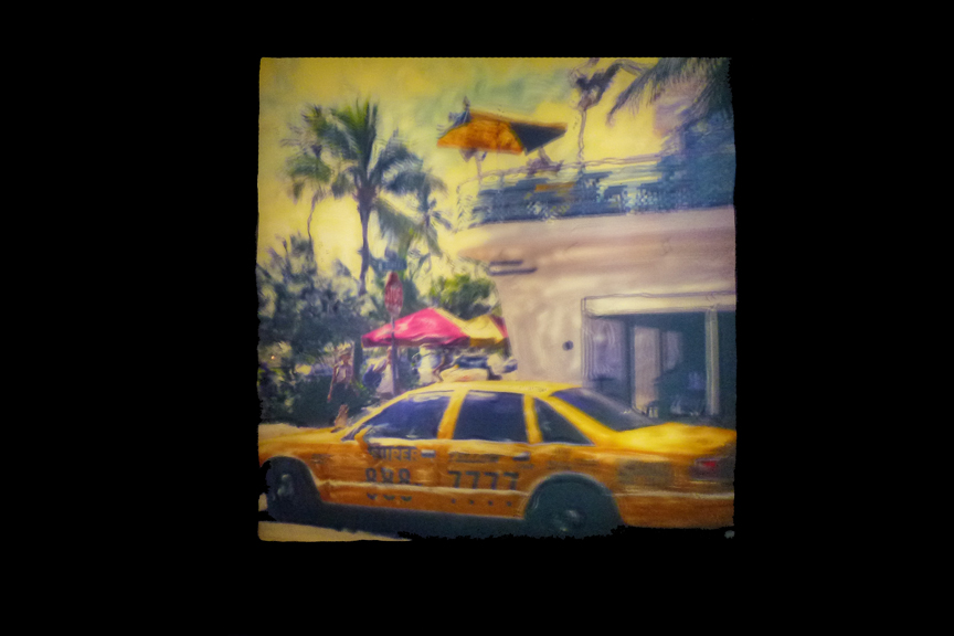 Illustrated Polalamp 3D effect - Cab in Miami Beach, 2001